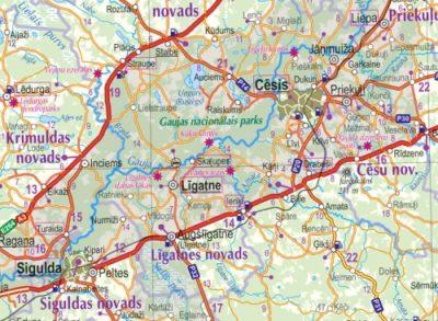 Road map of Latvia wwwkarteslv