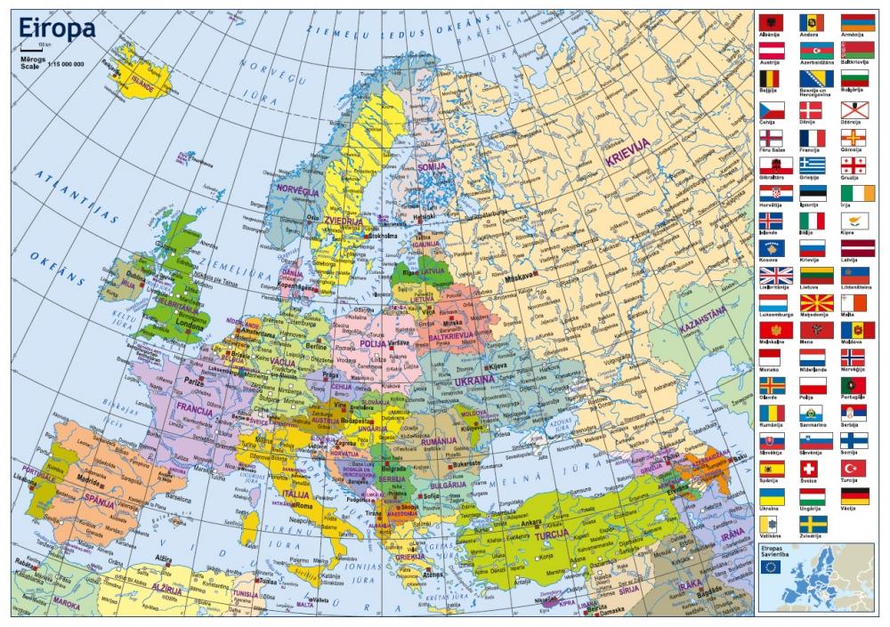 Eiropas Politiska Un Fiziogeografiska Karte A3 Formata Karsu