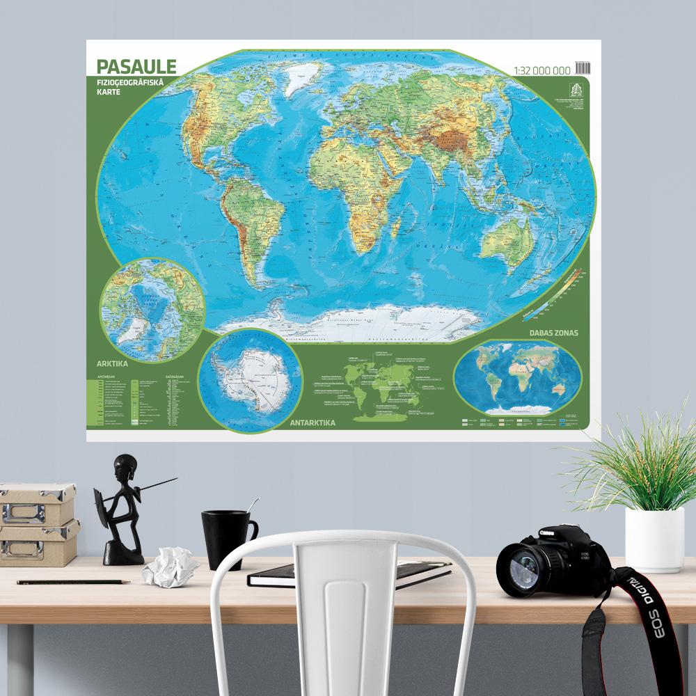 Pasaules fizioģeogrāfiskā sienas karte