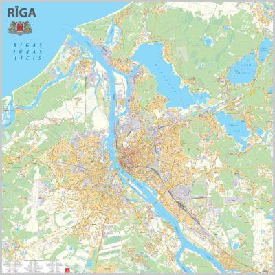 riga karte Rīgas karte   sienas kartes