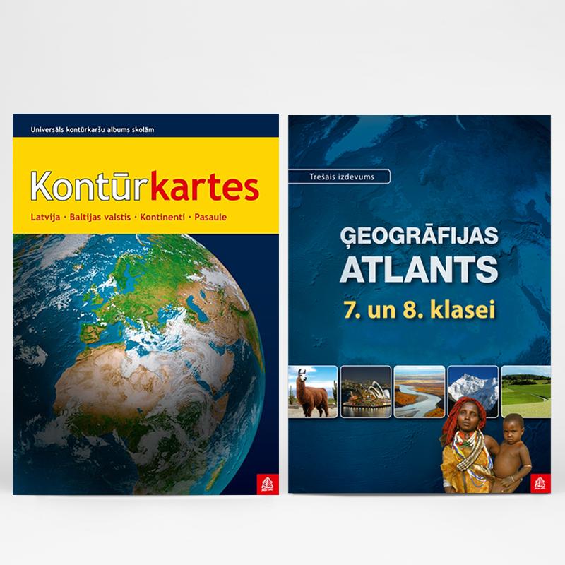 kontūrkartes un ģeogrāfijas atlants